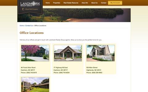 Screenshot of Locations Page landmarkrg.com - Office Locations - Landmark Realty Group   North Carolina Real Estate - captured Oct. 1, 2014