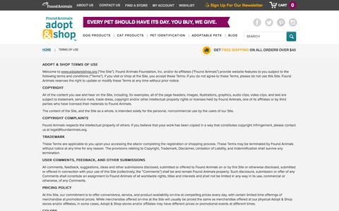 Screenshot of Terms Page adoptandshop.org - Terms Of Use - captured Sept. 23, 2014