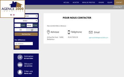 Screenshot of Contact Page agence2000.com - Nous contacter - captured Dec. 18, 2018
