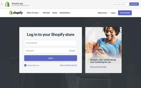 Screenshot of Login Page shopify.com - Login — Shopify - captured Feb. 9, 2018
