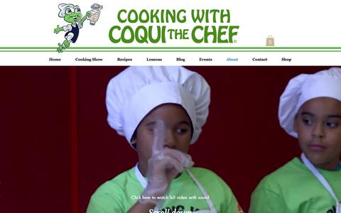 Screenshot of About Page coquithechef.com - Coqui the Chef | Cooking Lessons - captured July 21, 2018