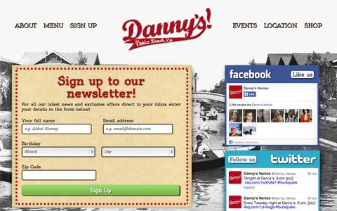 Screenshot of Signup Page dannysvenice.com - Danny's Venice | Sign up to our newsletter! - captured Sept. 30, 2014