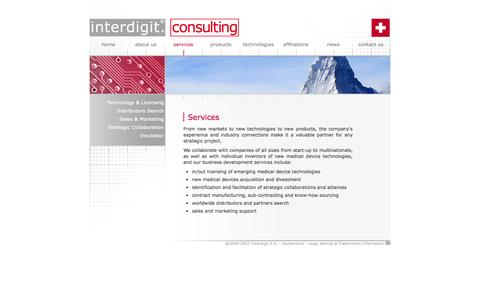 Screenshot of Services Page interdigit.com - Interdigit S.A. - Services - captured Oct. 6, 2014