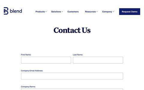 Screenshot of Contact Page blend.com - Contact - Blend - captured Sept. 14, 2019