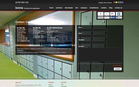 Screenshot of Contact Page ajbinns.com - Contact Us - AJ Binns - captured Oct. 4, 2014