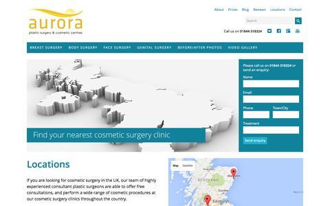 Screenshot of Locations Page aurora-clinics.co.uk - Cosmetic Surgery Clinics UK - Aurora Clinics Plastic Surgery Locations - captured Dec. 27, 2015