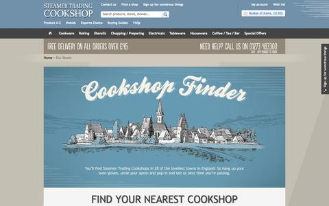 Screenshot of Locations Page steamer.co.uk - Cookshop Finder | Store Locator | Steamer Trading - captured Oct. 7, 2014
