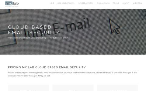 Screenshot of Pricing Page mxlab.eu - MX Lab - Cloud based email security - captured July 25, 2018