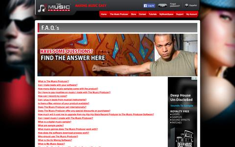 Screenshot of FAQ Page Site Map Page themusicproducer.com - The Music Producer - FAQ's - captured Oct. 26, 2014