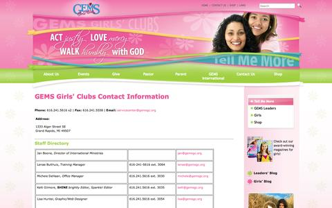 Screenshot of Contact Page gemsgc.org - GEMS Girls' Clubs - Contact Us - captured Oct. 1, 2014