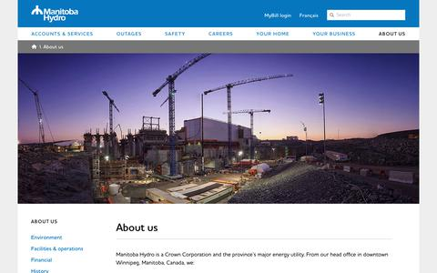 Screenshot of About Page hydro.mb.ca - About us - captured Nov. 11, 2018