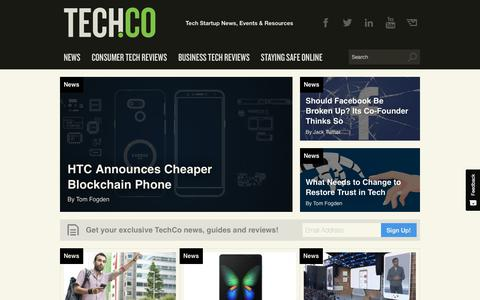 Screenshot of Press Page tech.co - News - Tech & Startup News, Events & Resources from Tech.Co - captured May 11, 2019