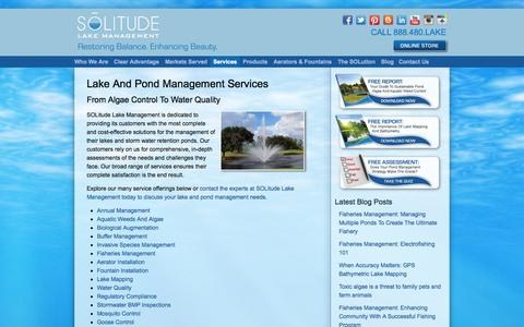 Screenshot of Services Page solitudelakemanagement.com - Full-Service Lake Management Solutions For Ponds, Lakes And Fisheries - captured Sept. 30, 2014