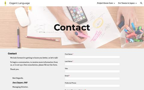 Screenshot of Contact Page google.com - Cogent Language - Contact - captured July 19, 2018