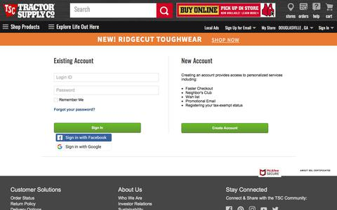 Screenshot of Login Page tractorsupply.com - Sign In - captured Aug. 13, 2019