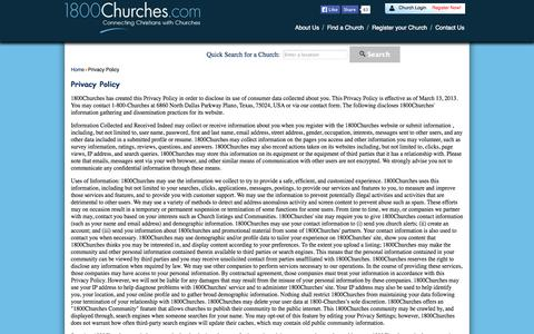 Screenshot of Privacy Page 1800churches.com - Privacy Policy - captured Oct. 27, 2014