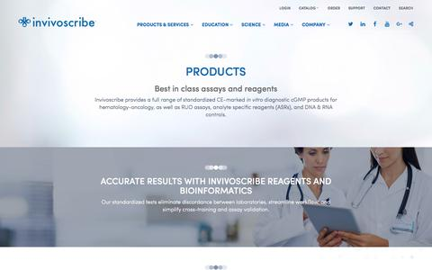 Screenshot of Products Page invivoscribe.com - Products |         Invivoscribe - captured Oct. 18, 2016