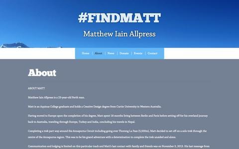 Screenshot of About Page findmatt.com.au - About | #FINDMATT - captured Oct. 27, 2014