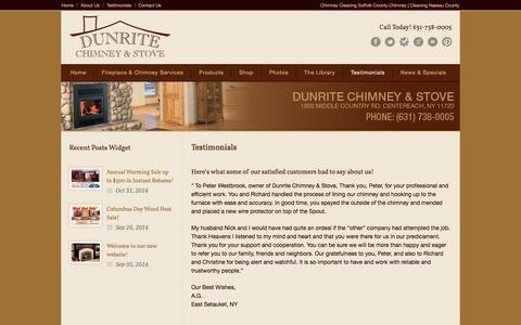 Screenshot of Testimonials Page dunritechimney.com - Dunrite Chimney Centereach Reviews - captured Nov. 3, 2014
