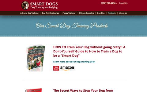 Screenshot of Products Page smartdogstrainingandlodging.com - Dog Training Products - captured Oct. 20, 2018