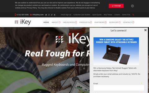 Screenshot of Home Page ikey.com - Rugged & Industrial Keyboards, Displays and Devices | iKey Peripherals - captured Aug. 6, 2019