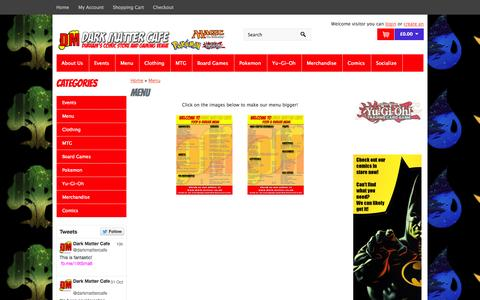 Screenshot of Menu Page dark-matter.co.uk - Menu - captured Nov. 3, 2014