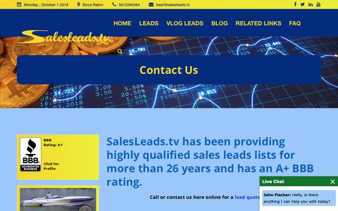 Screenshot of Contact Page salesleads.tv - Contact Us - captured Oct. 2, 2018