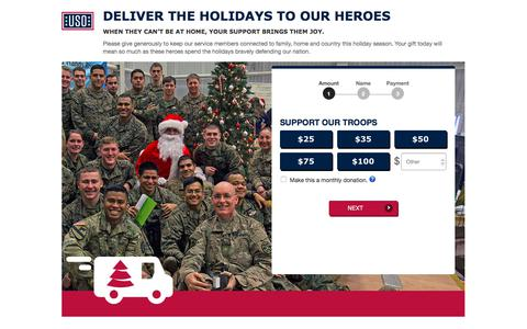 Screenshot of Landing Page uso.org - Donate | USO.org - captured Oct. 22, 2017