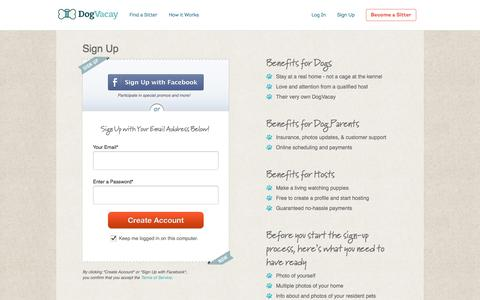 Screenshot of Signup Page dogvacay.com - Sign Up   Dog Boarding - captured July 3, 2016
