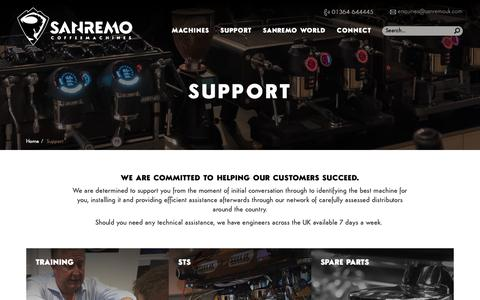 Screenshot of Support Page sanremouk.com - Sanremo Support | Spare Parts & Training - captured Oct. 1, 2018