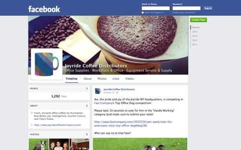 Screenshot of Facebook Page facebook.com - Joyride Coffee Distributors - Woodside, NY - Office Supplies, Workplace & Office | Facebook - captured Oct. 23, 2014