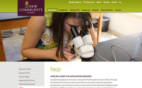 Screenshot of FAQ Page tncs.org - FAQs - The New Community School - captured Nov. 5, 2014