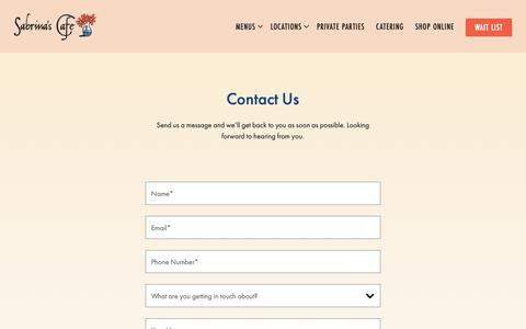 Screenshot of Contact Page sabrinascafe.com - Contact | Sabrina's Cafe - captured Sept. 29, 2018