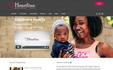 Screenshot of Home Page heartlineministries.org - Heartline Ministries – Haiti |      Supporting those in Haiti - captured July 18, 2018