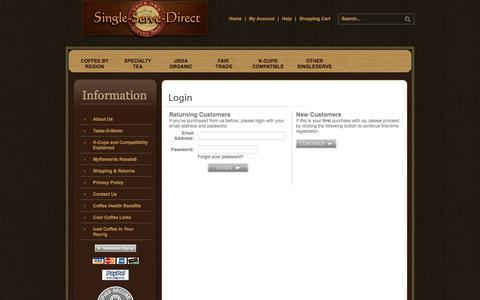 Screenshot of Login Page single-serve-direct.com - Login - captured July 9, 2018