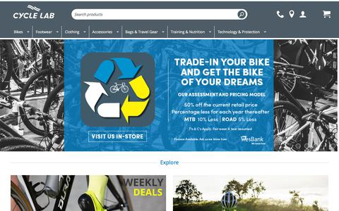 Screenshot of Home Page cyclelab.com - Cycle Lab | Mountain Bikes | Road Bikes | Bicycle Accessories - captured Sept. 11, 2018