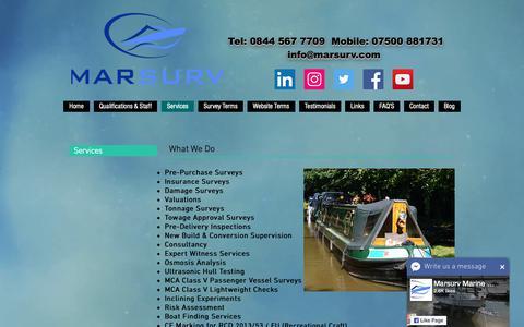 Screenshot of Services Page ebsurveys.com - Boat, Yacht, Houseboat & Marine Surveyors  UK, Essex, Kent, Spain - captured Sept. 28, 2018