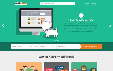 Screenshot of Home Page karfarm.com - KarFarm | Where Smart Shoppers Buy New Cars - captured Aug. 8, 2016