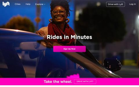 Screenshot of Home Page lyft.com - A ride whenever you need one - Lyft - captured April 19, 2016