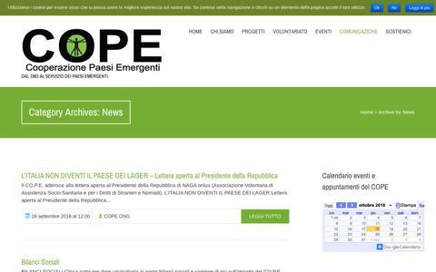 Screenshot of Press Page cope.it - News | Cope, Cooperazione Paesi Emergenti - captured Oct. 18, 2018