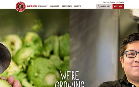 Screenshot of Jobs Page chipotle.com - Chipotle Careers - captured Jan. 4, 2016
