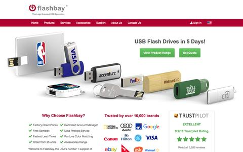 Screenshot of Home Page flashbay.com - Custom USB Flash Drives Imprinted with your Logo - captured Oct. 18, 2015