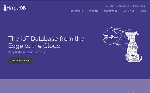 Screenshot of Home Page harperdb.io - HarperDB | Simplifying Big Data Architecture | HTAP Database - captured July 10, 2018