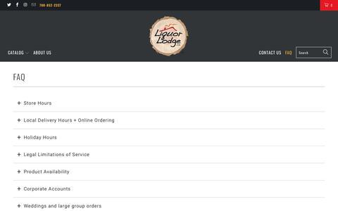 Screenshot of FAQ Page liquorlodge.ca - FAQ - Liquor Lodge Canada - captured Dec. 15, 2018