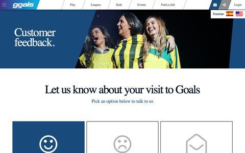 Screenshot of Support Page goals-soccer.com - Customer Feedback | Goals - captured Sept. 29, 2018