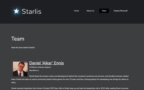 Screenshot of Team Page starlis.com - Team - Starlis - captured July 24, 2018