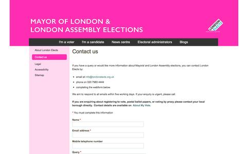 Screenshot of Contact Page londonelects.org.uk - Contact us | London Elects - captured May 29, 2016