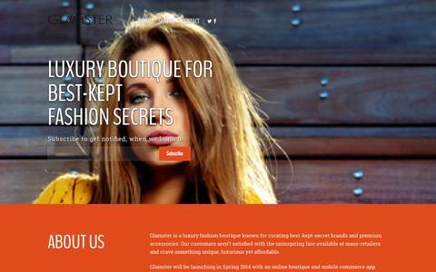 Screenshot of Home Page glamster.com - Glamster - captured Sept. 30, 2014