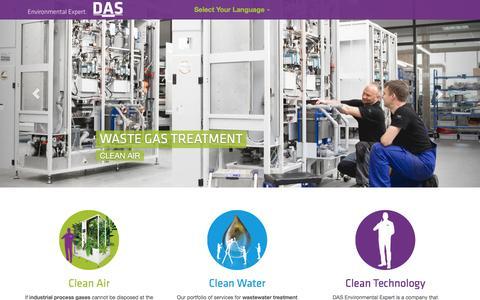 Screenshot of Home Page das-ee.com - DAS Environmental Expert Worldwide - captured March 28, 2016