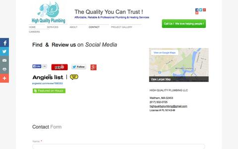 Screenshot of Privacy Page Contact Page highqualityplumber.com - Contact   High Quality Plumbing   Plumbing   Heating   Waltham   MA   Massachusetts   Boston   Water Heaters   High Efficiency Gas Boilers   Bathroom Remodeling   Kitchen Remodeling   Gas Fittings   Sump Pumps   Appliance Installations   Faucet & Fix - captured Oct. 22, 2014